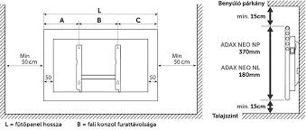 Adax Neo norvég fűtőpanel felszerelése, rajza